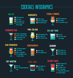 Grupo infographic dos cocktail Imagens de Stock