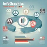 Grupo infographic em trabalhos de equipa no negócio Fotos de Stock Royalty Free