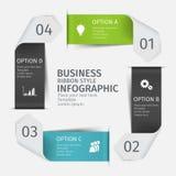Grupo infographic moderno da seta, estilo da fita Molde para a apresentação, carta, gráfico Fotografia de Stock Royalty Free
