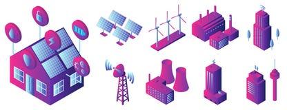Grupo inteligente do ícone da construção, estilo isométrico ilustração stock