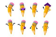 Grupo inteligente do vetor do caráter do lápis dos desenhos animados ilustração do vetor