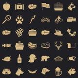 Grupo inteligente dos ícones do cão, estilo simples ilustração royalty free