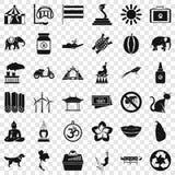 Grupo inteligente dos ícones do elefante, estilo simples ilustração royalty free