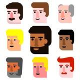 Grupo internacional do ícone das caras do homem dos desenhos animados de todos os grupos de idade Fotos de Stock Royalty Free