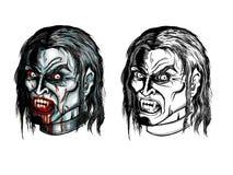 Grupo irritado da cabeça do vampiro ilustração do vetor