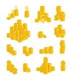 Grupo isolado dólares dos desenhos animados do ouro das corrediças ilustração stock