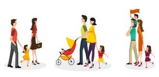 Grupo isolado de famílias ilustração stock