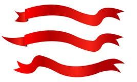 Grupo isolado do projeto da ilustração do vetor das fitas bandeiras vermelhas Imagem de Stock Royalty Free