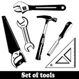 Grupo isolado ferramentas da construção. A mão utiliza ferramentas o jogo (dos instrumentos). Imagem de Stock Royalty Free