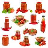 Grupo isolado ketchup Fotografia de Stock Royalty Free