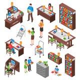 Grupo isométrico da biblioteca ilustração stock