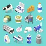 Grupo isométrico da fábrica dos produtos láteos no azul ilustração stock