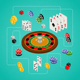 Grupo isométrico de artigos do jogo e do casino Fotos de Stock Royalty Free
