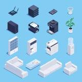 Grupo isométrico de equipamento e de mobília de escritório ilustração royalty free