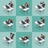 Grupo isométrico de projeto de caráter do homem de negócios e da mulher de negócios Homem de negócio isométrico dos povos em pose ilustração stock