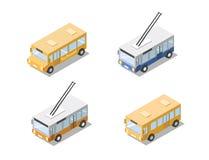 Grupo isométrico de transporte público da cidade, ônibus do vetor, ônibus bonde Imagem de Stock