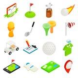 Grupo isométrico do ícone 3d do golfe ilustração royalty free