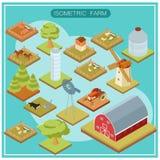 Grupo isométrico do ícone da exploração agrícola Imagens de Stock