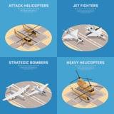 Grupo isométrico do ícone da força aérea ilustração stock