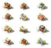 Grupo isométrico do ícone das lojas do vetor Fotos de Stock Royalty Free
