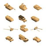 Grupo isométrico do ícone dos veículos militares ilustração royalty free