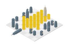 Grupo isométrico do projeto 3d do cubo da xadrez do negócio, conceito do checkmate do dinheiro ilustração royalty free