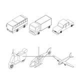 Grupo isométrico do transporte Imagens de Stock