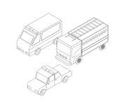 Grupo isométrico do transporte dos salvadores Fotos de Stock Royalty Free