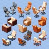 Grupo isométrico do vetor da cadeira e da poltrona Imagem de Stock