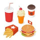 Grupo isométrico do vetor do estilo 3d de fast food Ilustração do burg Imagem de Stock
