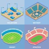 Grupo isométrico liso do ícone do vetor do estádio do esporte ilustração royalty free