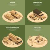 Grupo isométrico quadrado do ícone dos veículos militares ilustração stock