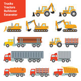 Grupo isométrico liso do ícone do transporte da construção da cidade 3d Imagens de Stock Royalty Free