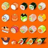 Grupo japonês da coleção do sushi Fotografia de Stock