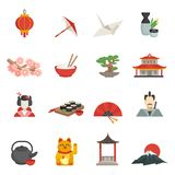 Grupo japonês do plano dos ícones Fotografia de Stock Royalty Free