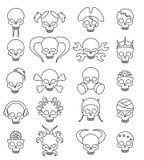 Grupo linear do ícone do crânio bonito dos desenhos animados Fotografia de Stock