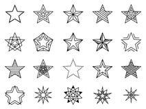 Grupo linear do vetor das estrelas ilustração stock