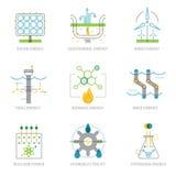 Grupo linear na moda do projeto de ícones em plantas da geração de eletricidade Foto de Stock