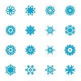 Grupo liso azul do ícone do floco de neve Imagem de Stock