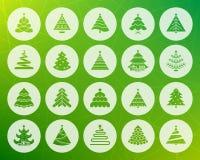 Grupo liso cinzelado forma do vetor dos ícones da árvore de Natal ilustração stock