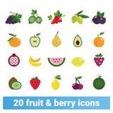 Grupo liso colorido dos ícones do estilo dos frutos e das bagas ilustração royalty free
