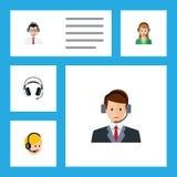 Grupo liso da chamada do ícone de secretário, de centro de atendimento, de linha de apoio ao cliente e de outros objetos do vetor Imagens de Stock Royalty Free
