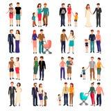 Grupo liso da família ilustração royalty free