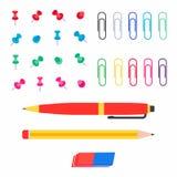 Grupo liso da ilustração do vetor do estilo dos pinos de papel coloridos, dos clipes de papel, da pena, do lápis e do eliminador  ilustração do vetor