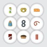 Grupo liso da refeição do ícone de bebida efervescente, de cookie, de fatia do queijo Cheddar e de outros objetos do vetor Igualm ilustração do vetor