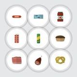 Grupo liso da refeição do ícone de ketchup, de carne, de carne e de outros objetos do vetor Igualmente inclui a carne, salsicha,  ilustração do vetor