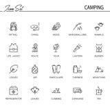 Grupo liso de acampamento do ícone Imagem de Stock Royalty Free