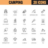 Grupo liso de acampamento do ícone Fotografia de Stock