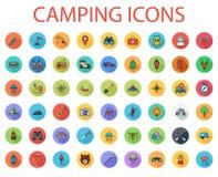Grupo liso de acampamento do ícone do vetor Imagens de Stock