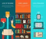 Grupo liso de Bannes das mãos longas da biblioteca ilustração royalty free